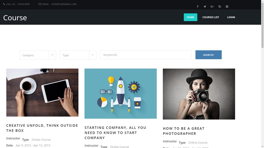 Course Theme WordPress page template