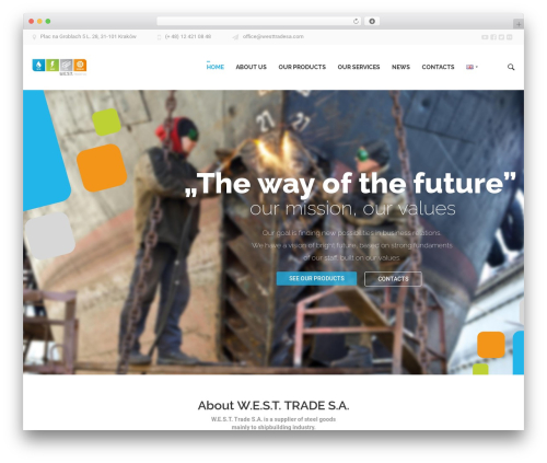 EXE WordPress theme - westtradesa.com