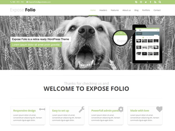 Expose Folio template WordPress
