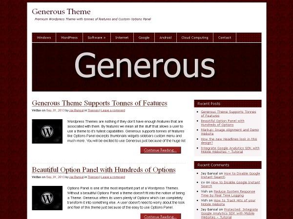 Generous WordPress blog theme