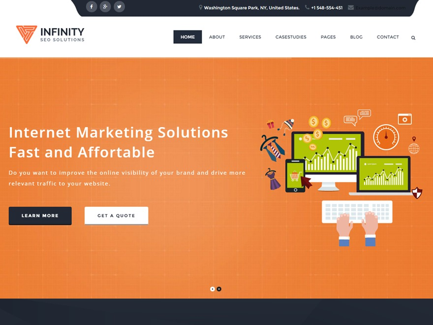 Infinity Seo WordPress theme design