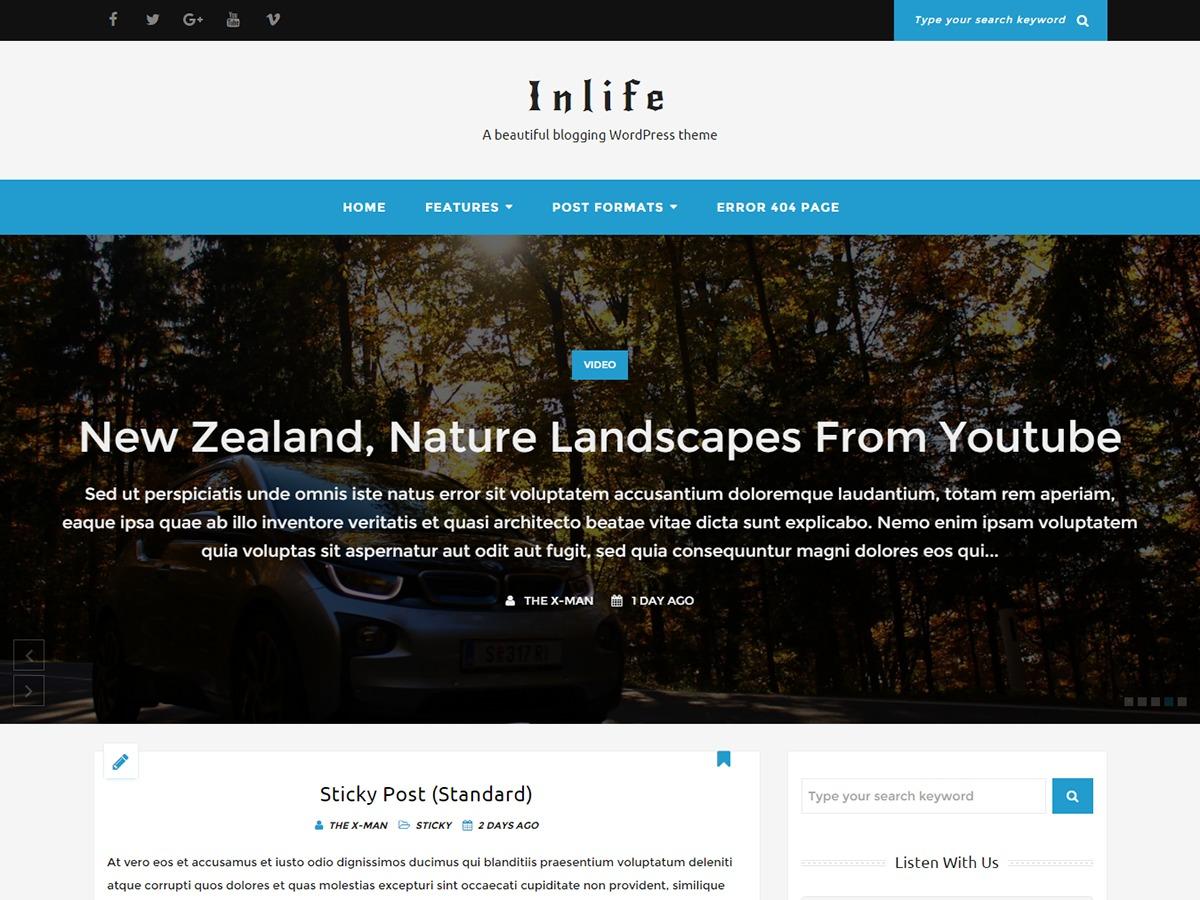 InLife WordPress blog template