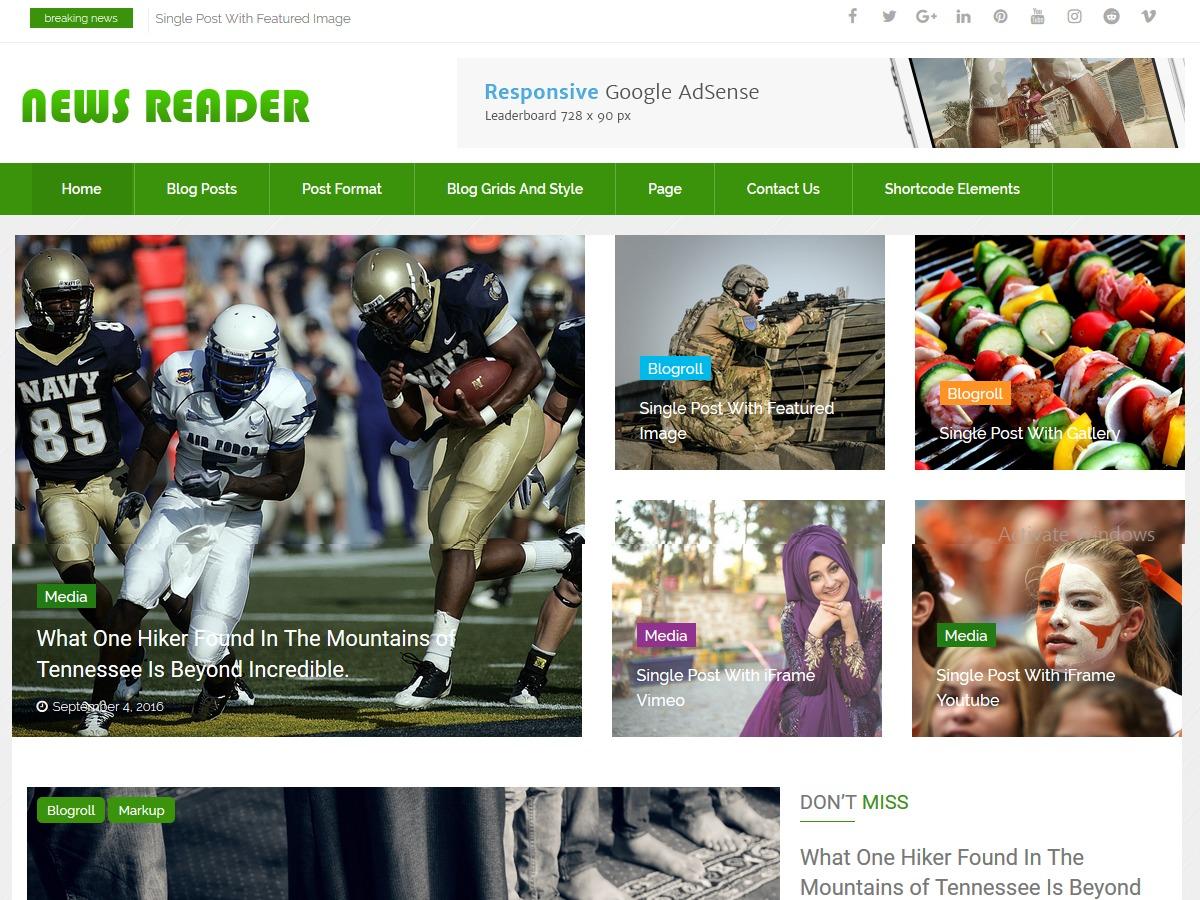 News Reader pro WordPress magazine theme