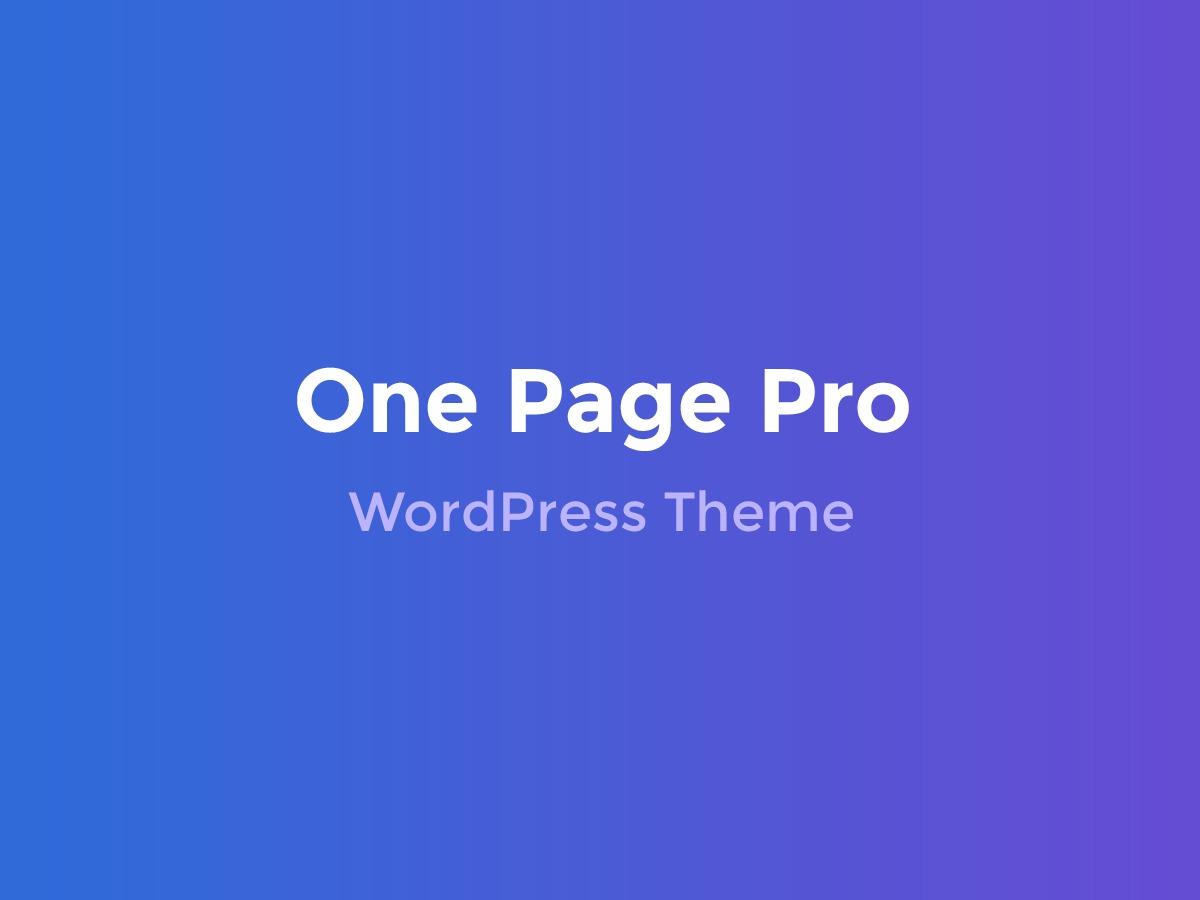 OnepagePro WordPress theme design