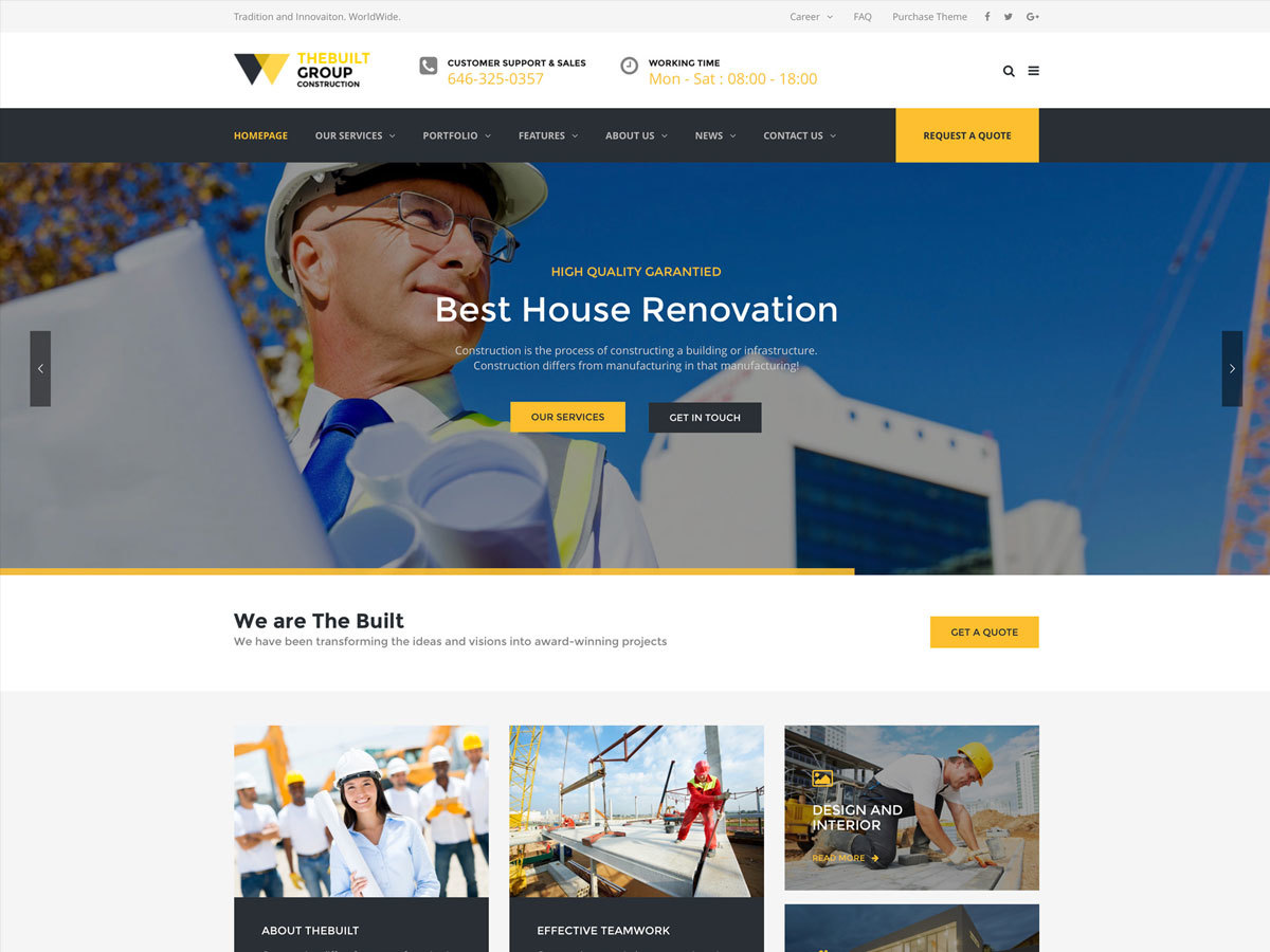 TheBuilt WordPress portfolio theme