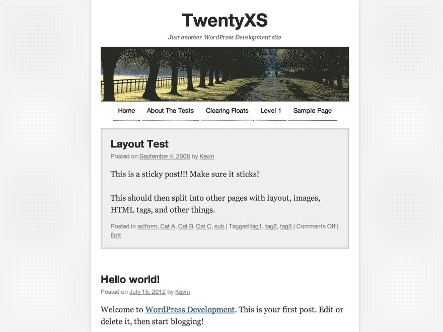 TwentyXS WordPress theme