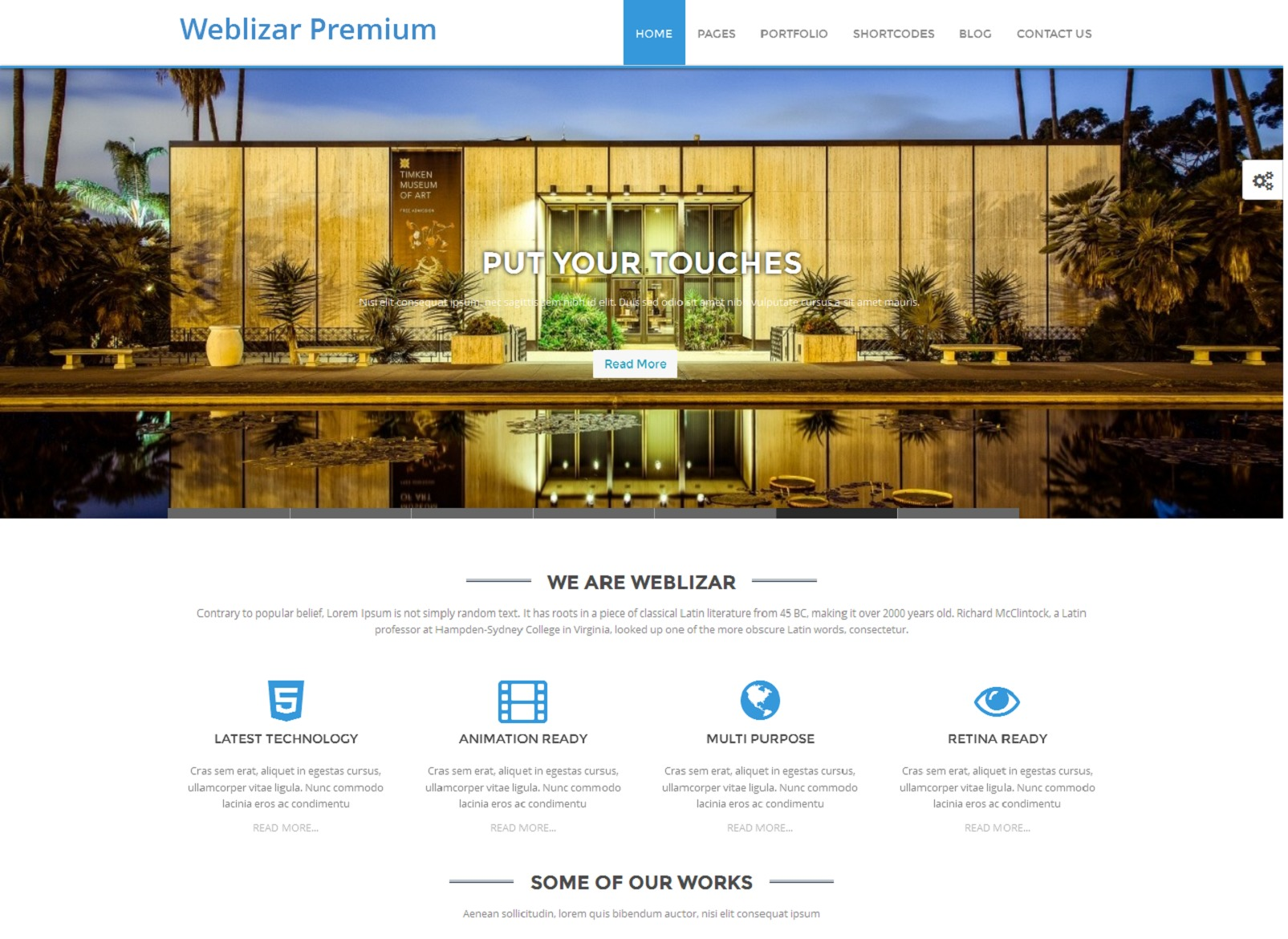 Weblizar Premium WordPress template for business