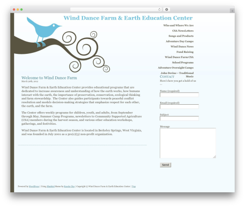 WordPress theme Bluebird - winddancefarm.org