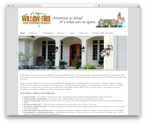 WordPress website template Modernize - willowtreebuilders.com