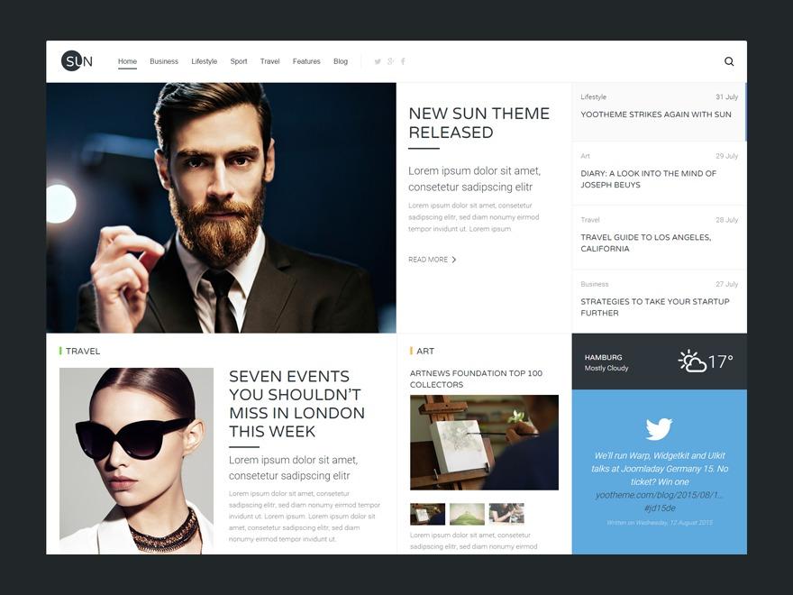 WordPress website template Sun