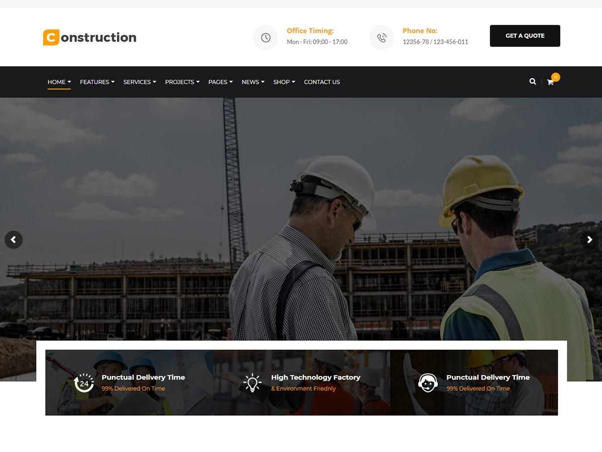 WordPress template Construction Child