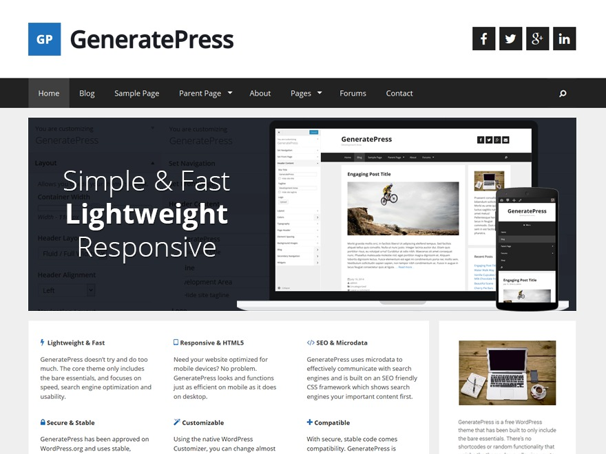 GeneratePress WordPress shopping theme