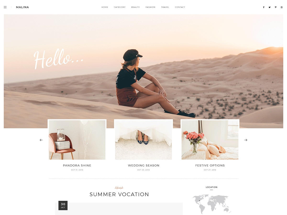 Malina best WordPress template