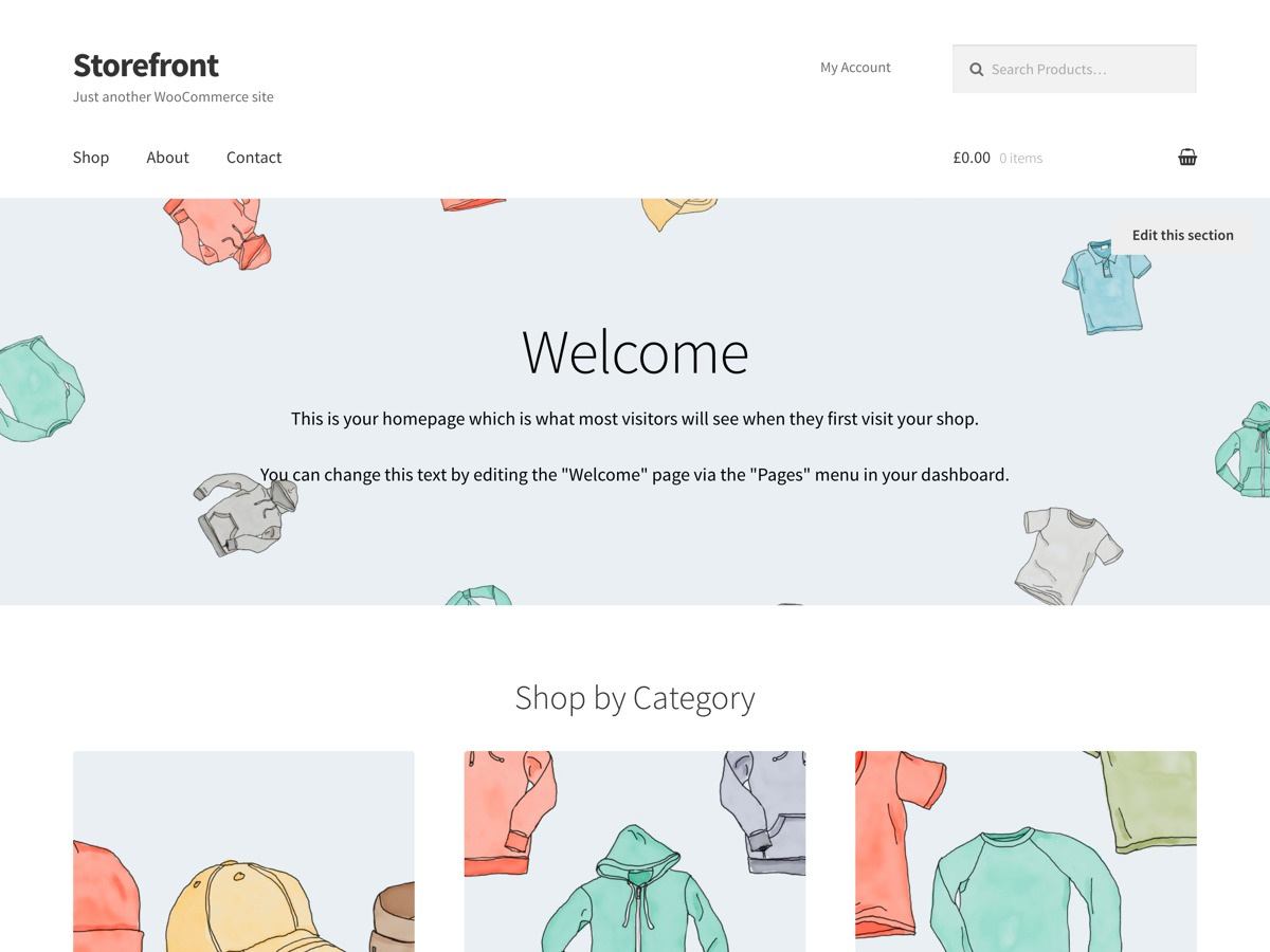 Store front child WordPress ecommerce theme
