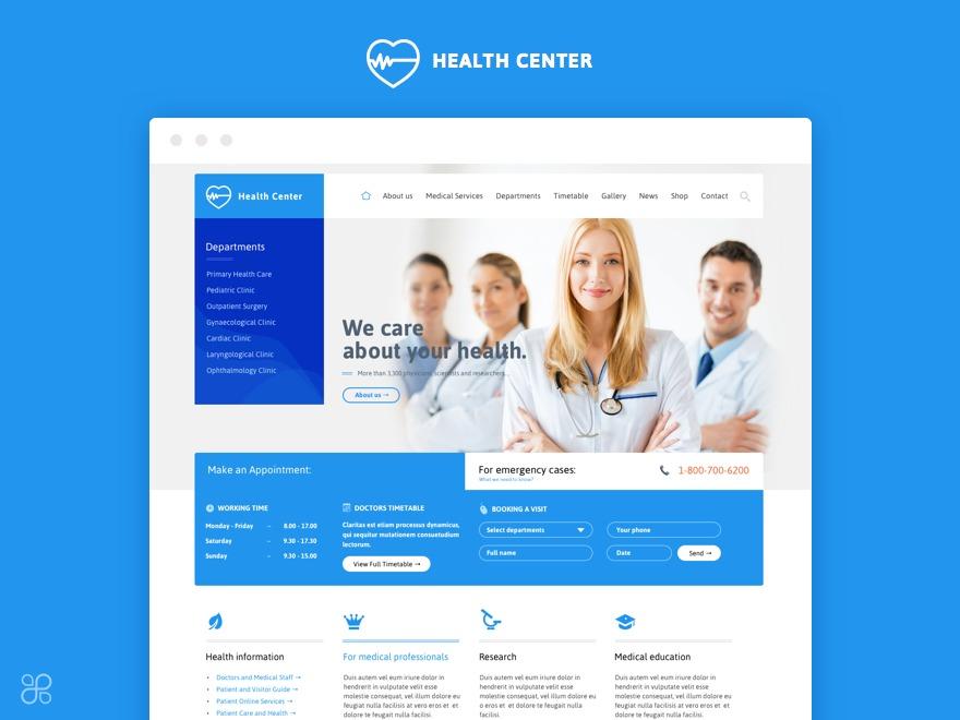 Health Center Child WordPress theme design