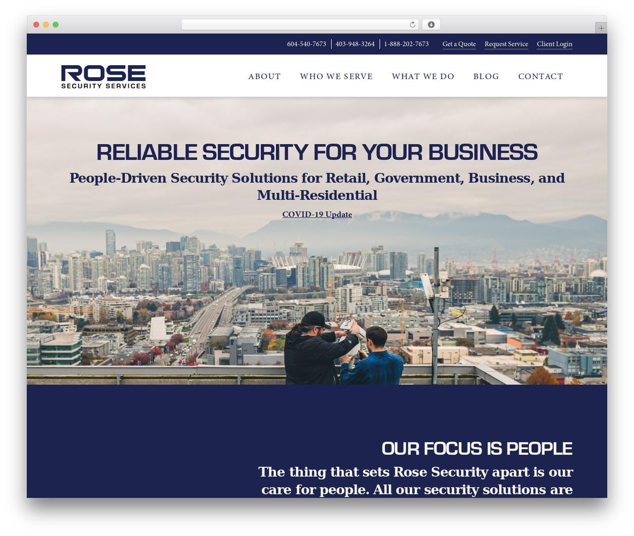 X company WordPress theme - rosesecurity.com