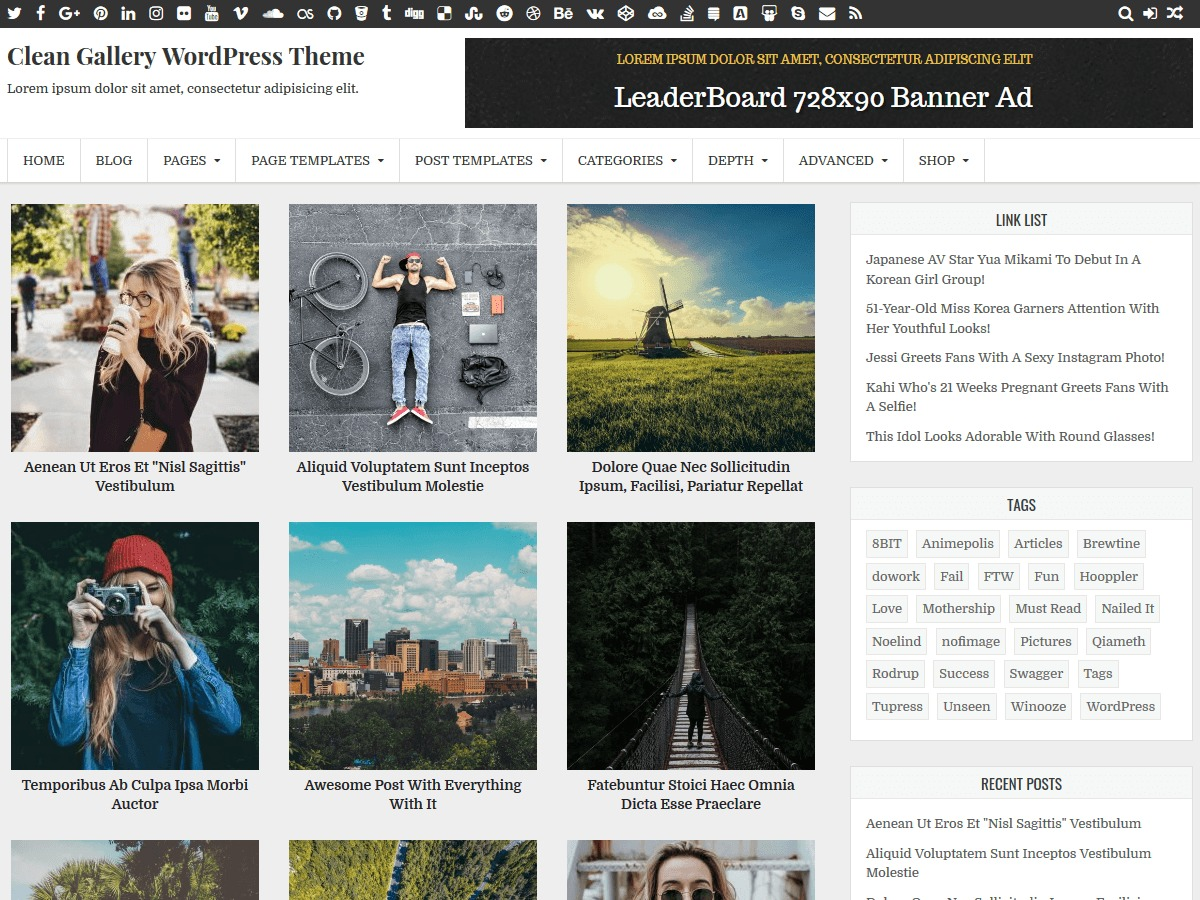 Clean Gallery WordPress template for photographers