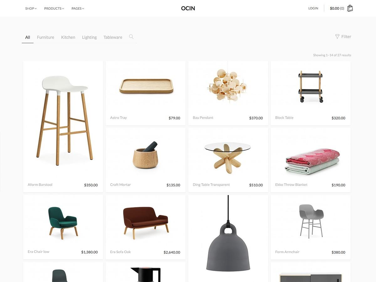 Ocin WordPress ecommerce template
