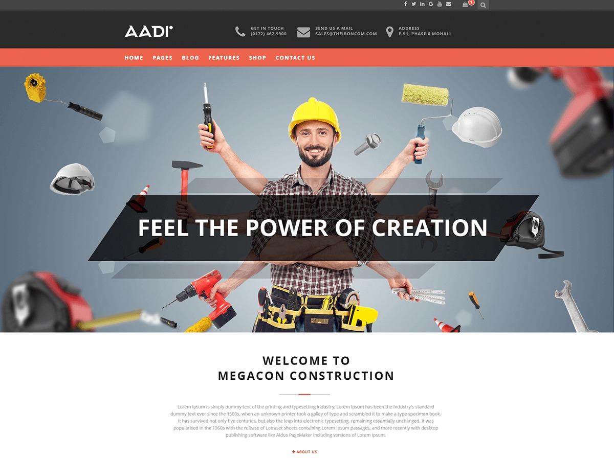 Aadi WordPress template for business