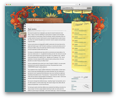 Theme WordPress Notepad Chaos - richandstephanie.com