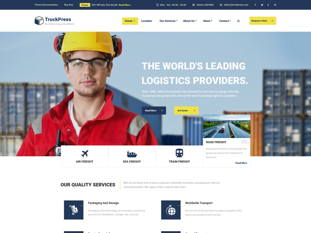 TruckPress WordPress page template