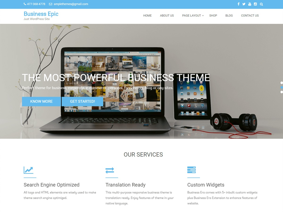 Business Epic WordPress shop theme