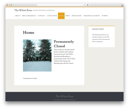 Ignite free WordPress theme - whiterosewinery.com