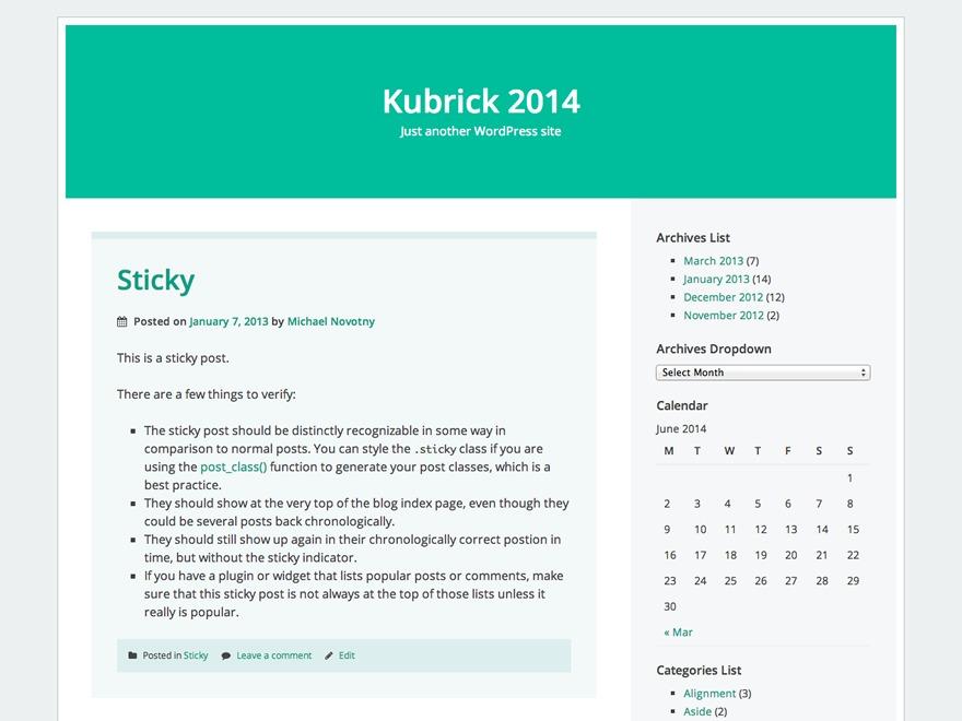Kubrick 2014 WordPress theme design