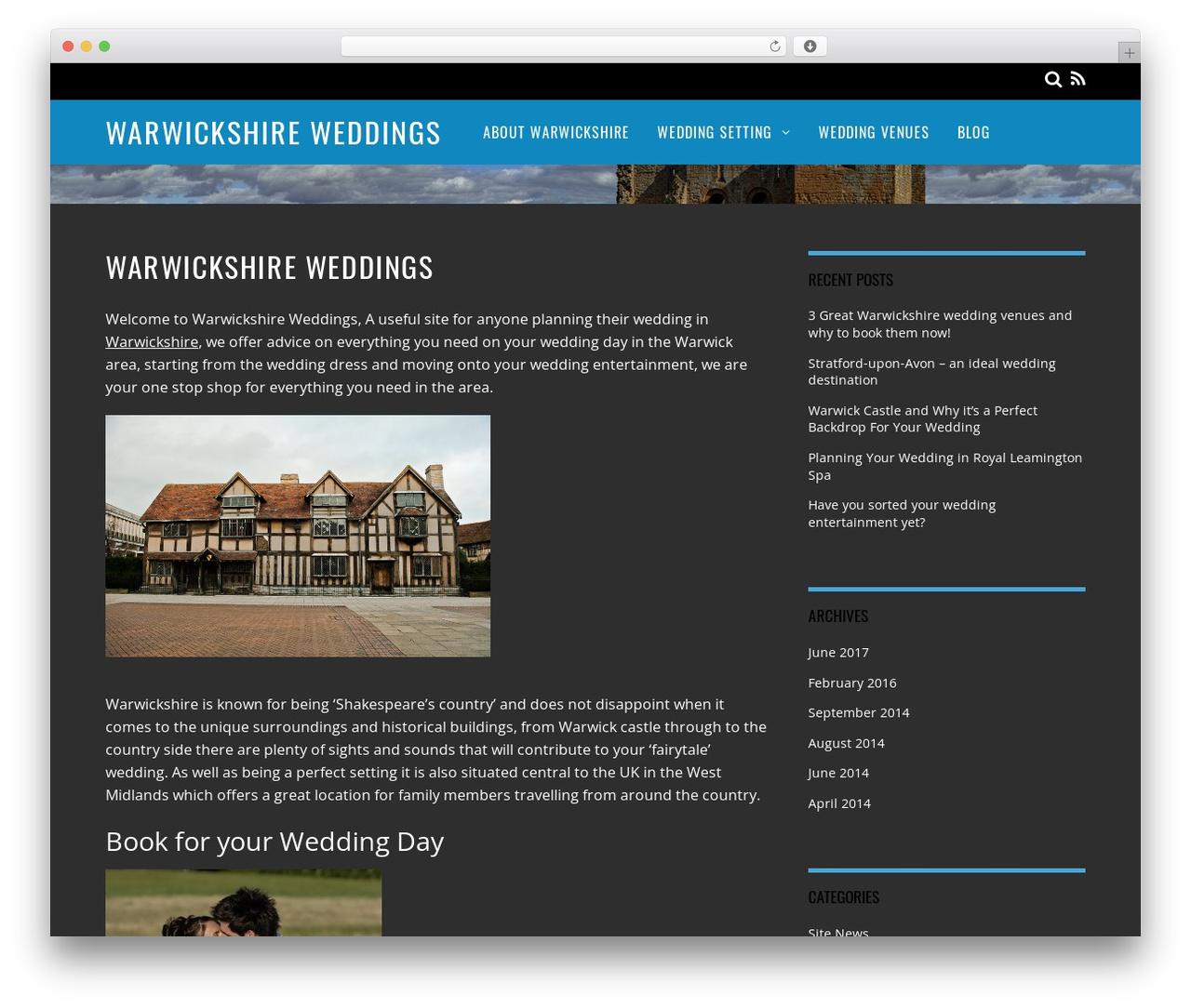 Magazine best WordPress template - warwickshireweddings.co.uk