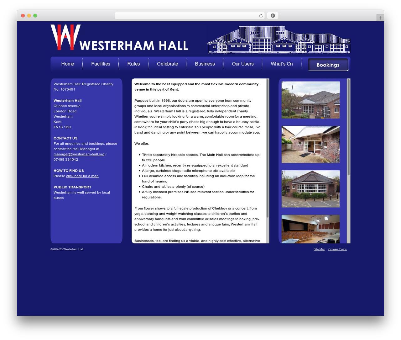 Modular top WordPress theme - westerham-hall.org