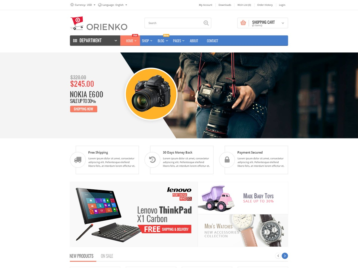 Orienko WordPress ecommerce template