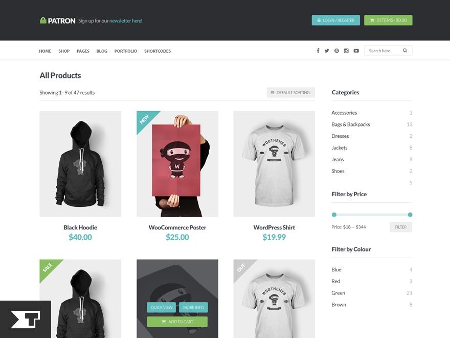 Patron Child Theme WordPress ecommerce theme