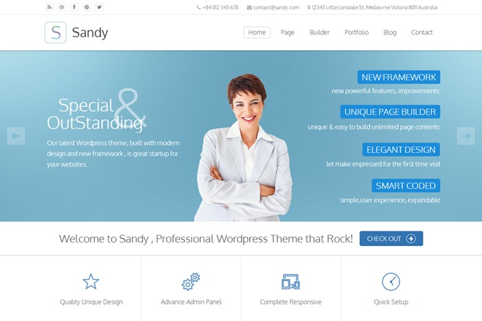 Sandy premium WordPress theme