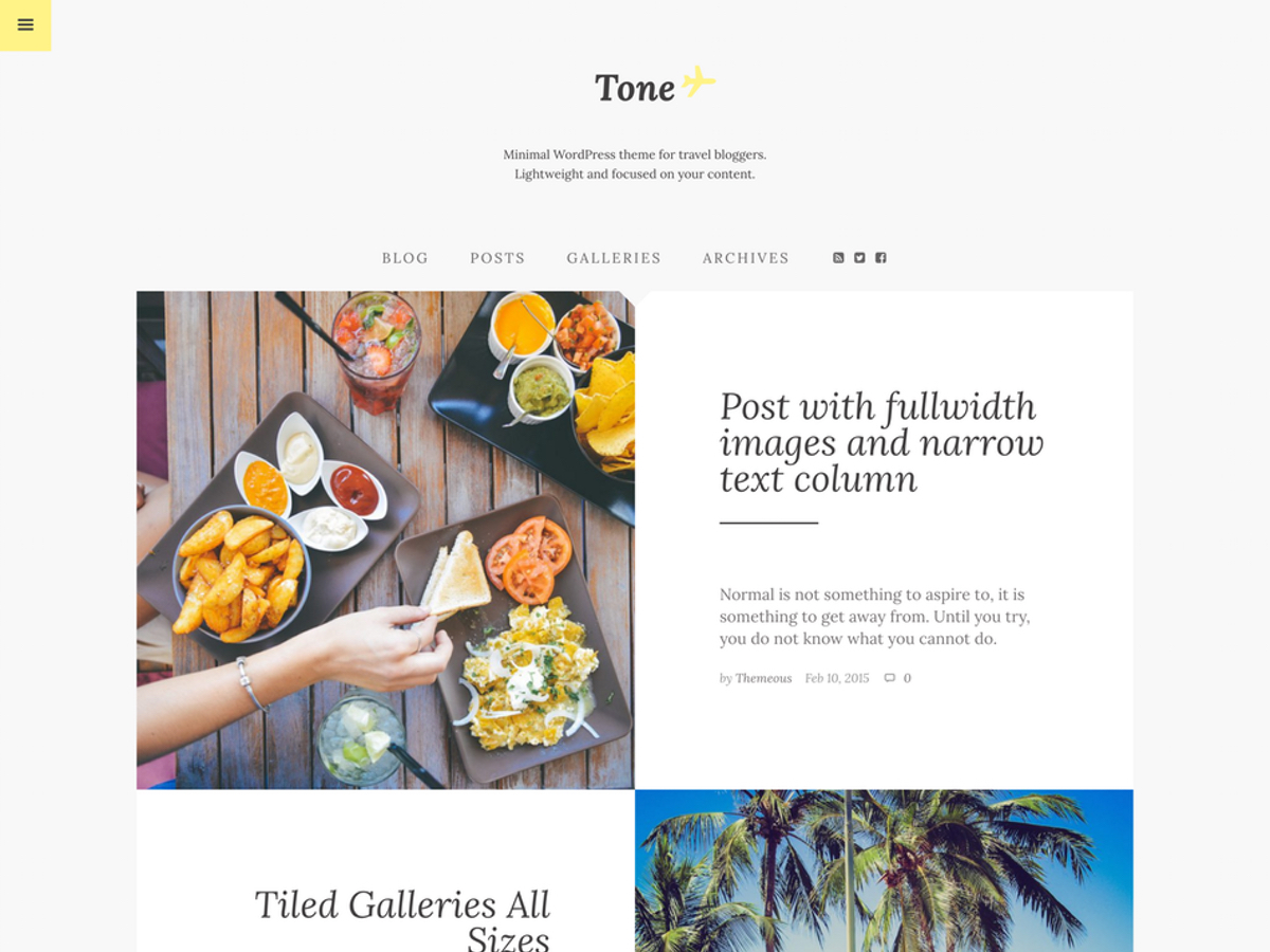 Tone template WordPress free