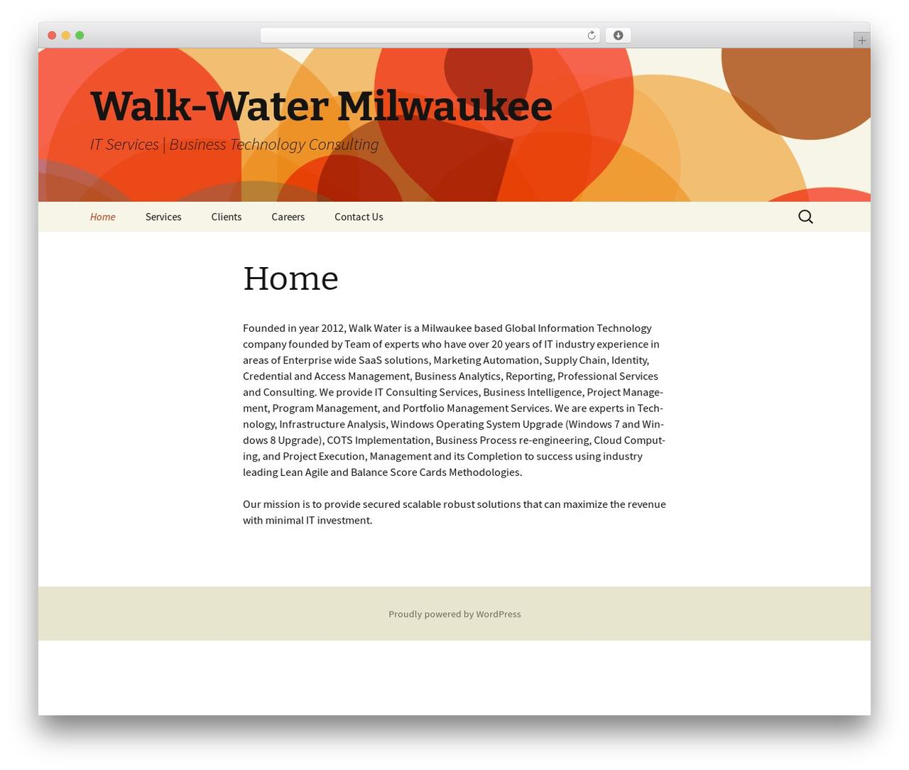 Twenty Thirteen free WP theme - walk-water.com