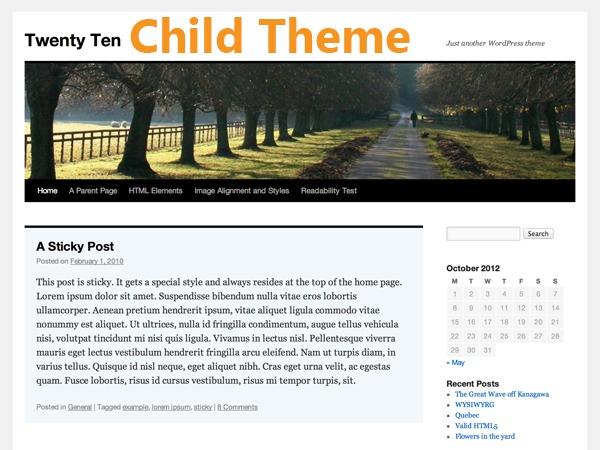 WordPress theme Twenty Ten Child