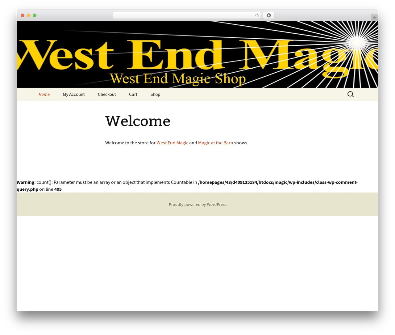 WP template Twenty Thirteen - westendmagicshop.com