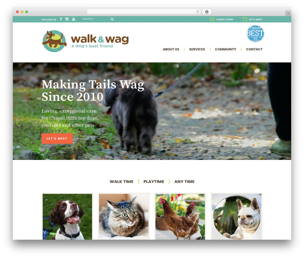 WP template Walk and Wag - walkandwagchapelhill.com