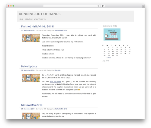 picolight theme WordPress - runningoutofhands.ca