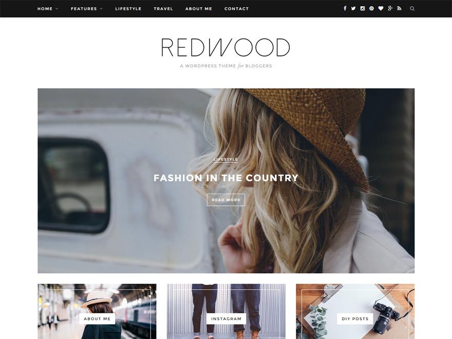 Redwoodƒ WordPress blog template