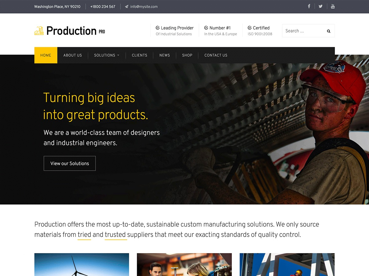 Production Pro WordPress template for business