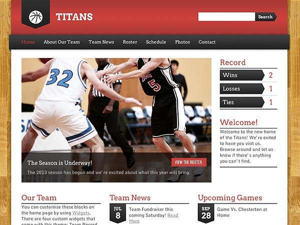 WordPress template Sports Team Theme Child