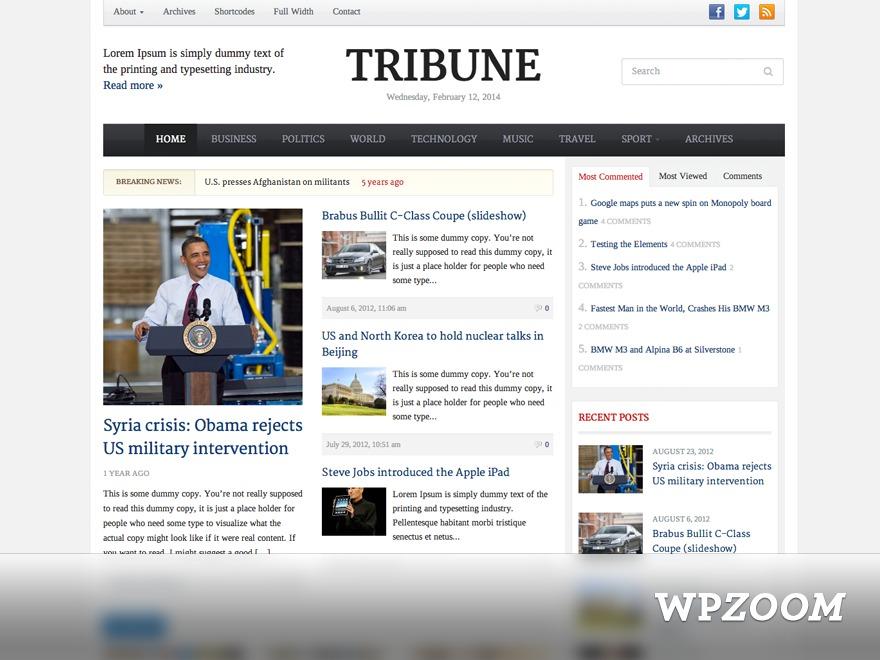 WordPress theme Tribune Theme
