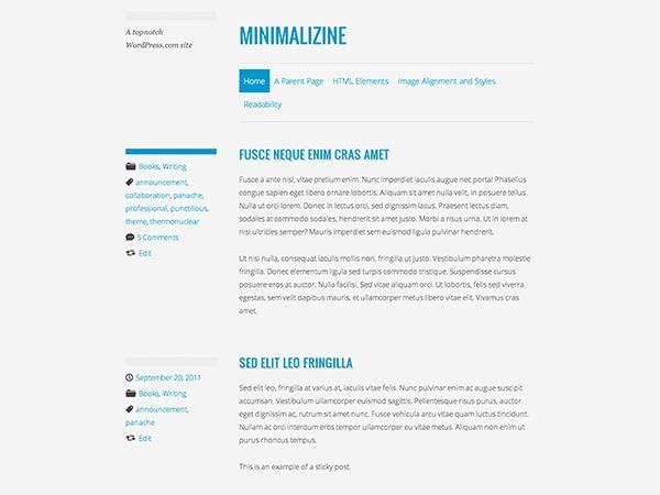 WordPress template Minimalizine – WordPress.com