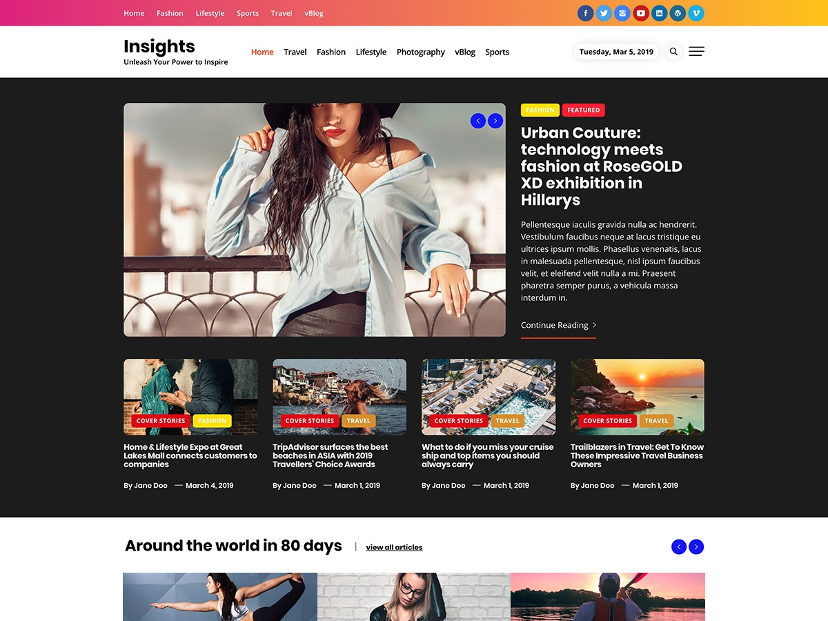 Insights WordPress blog template