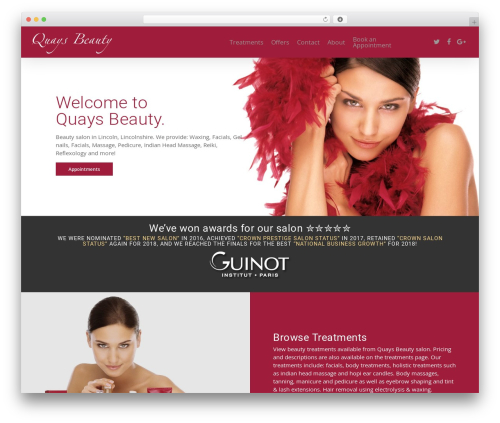 Salient massage WordPress theme - quaysbeauty.com