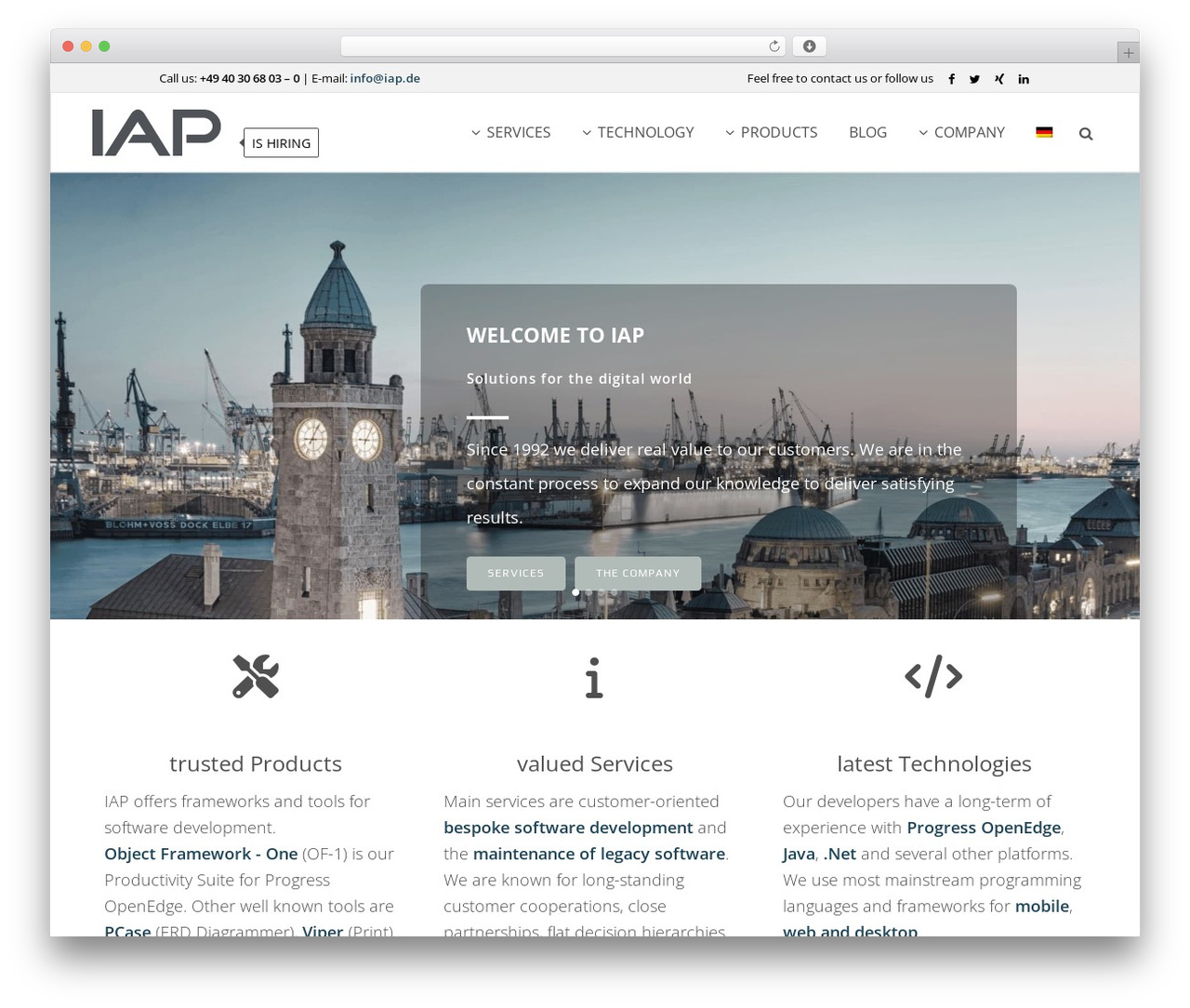 WordPress theme Bridge - iap.de