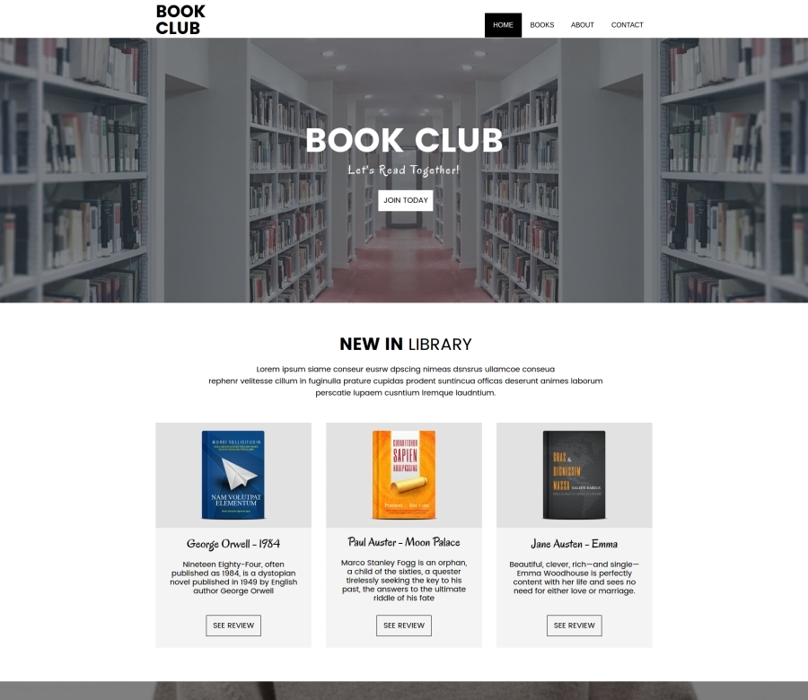 Book Club business WordPress theme