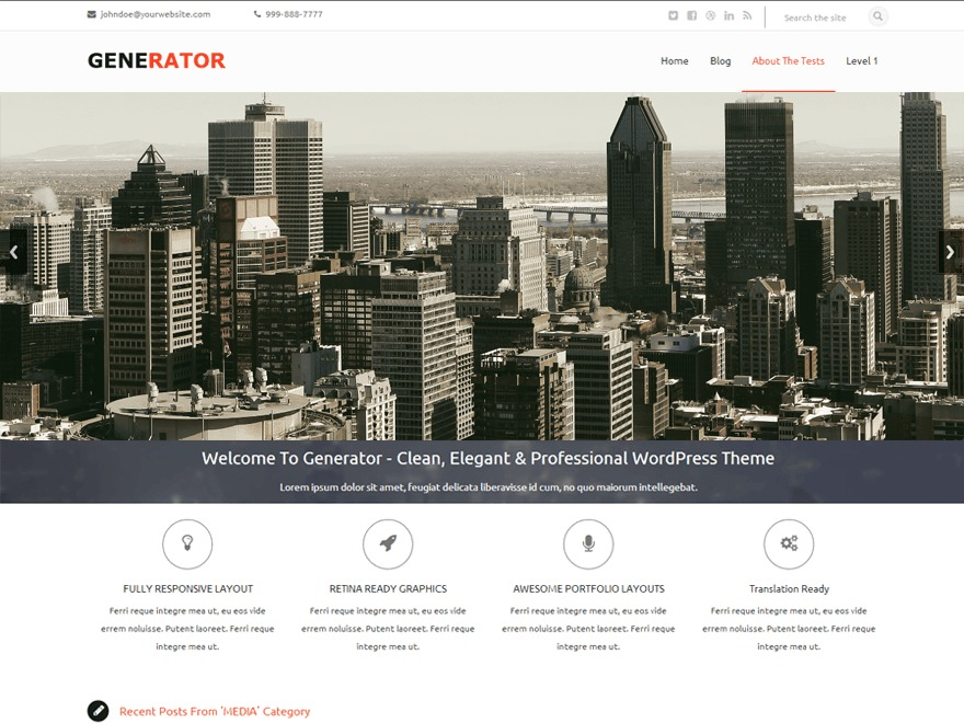 Generator WordPress template for business