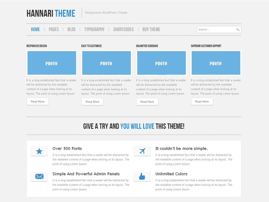 Hannari Blue WordPress theme design